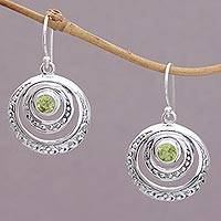Peridot dangle earrings, 'Heavenly Gleam' - Peridot and Sterling Silver Crescent Earrings from Bali