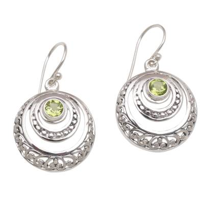 Peridot and Sterling Silver Crescent Earrings from Bali