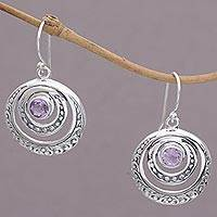 Amethyst dangle earrings, 'Heavenly Gleam' - Amethyst and Sterling Silver Crescent Earrings from Bali
