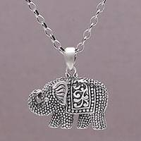 Sterling silver pendant necklace, 'Royalty Memories' - 925 Sterling Silver Elephant Pendant Necklace from Bali