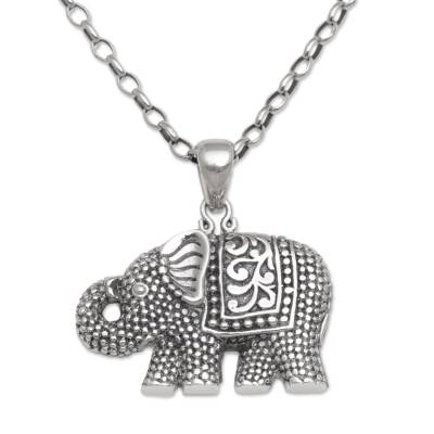 925 Sterling Silver Elephant Pendant Necklace from Bali