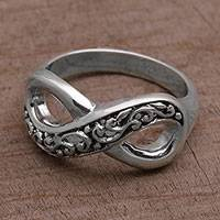 Sterling silver band ring, 'Tangled Vine' - Hand Crafted Sterling Silver Infinity Symbol Ring from Bali
