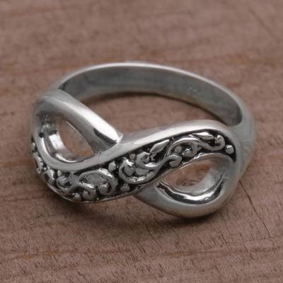 Sterling silver and emerald ring - Hand Crafted Sterling Silver Infinity Symbol Ring from Bali