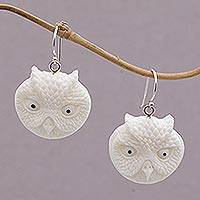 Bone dangle earrings, 'Owl Faces' - Handcrafted Bone Owl Head Dangle Earrings from Bali