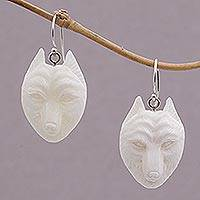 Bone dangle earrings, 'Wolf Pack' - Handcrafted Bone Wolf Head Dangle Earrings from Bali