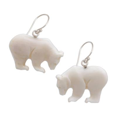 Bone dangle earrings, 'Grizzly Brothers' - Handcrafted Bone Grizzly Bear Dangle Earrings from Bali