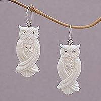 Bone dangle earrings, 'Owl Bond' - Handcrafted Bone Owl Family Dangle Earrings from Bali