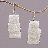 Bone dangle earrings, 'Fierce Owls' - Handcrafted Bone Owl Dangle Earrings from Bali