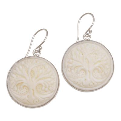 Bone dangle earrings, 'Halo Trees' - Handcrafted Bone Tree Dangle Earrings from Bali