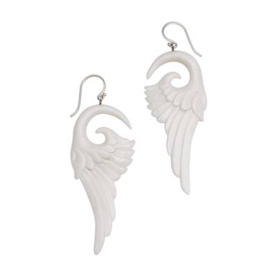 Bone dangle earrings, 'Swirling Wings' - Handcrafted Bone Wing-Shaped Dangle Earrings from Bali