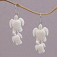 Bone dangle earrings, 'Sea Turtle Bond' - Handcrafted Bone Sea Turtle Dangle Earrings from Bali
