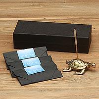 Brass incense set, 'Sea Turtle Aroma' - Antiqued Brass Sea Turtle Incense Holder and Sticks Set