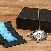 Brass incense holder set, 'Turtle Aroma in Silver' - Brass Turtle Incense Holder and Sticks Set in Silver