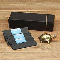 Brass incense set, 'Turtle Aroma in Gold' - Antiqued Brass Turtle Incense Holder and Sticks Set in Gold
