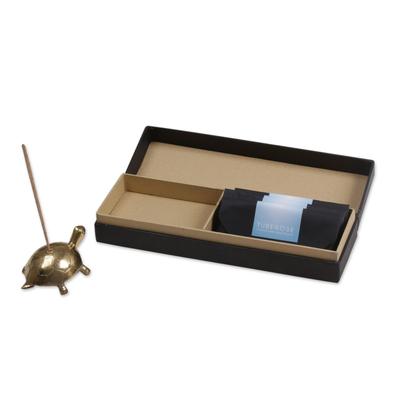 Antiqued Brass Turtle Incense Holder and Sticks Set in Gold