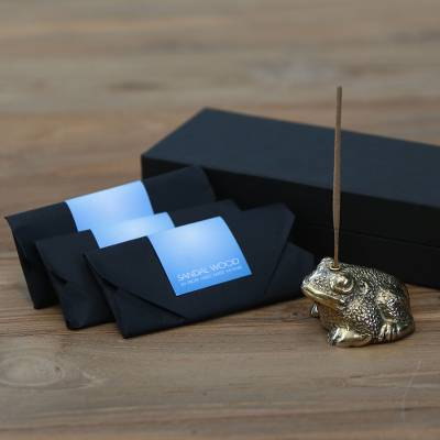 Brass incense holder set, 'Frog King II' - Handmade Brass Frog Incense Holder and Three Incense Packs