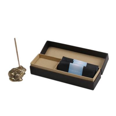 Handmade Brass Frog Incense Holder and Three Incense Packs