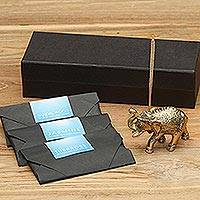 Brass incense holder set, 'Elephant King II' - Indonesian Brass Elephant Incense Holder and Incense Packs