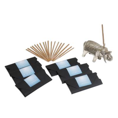 Brass Elephant Incense Holder and Six Incense Packs