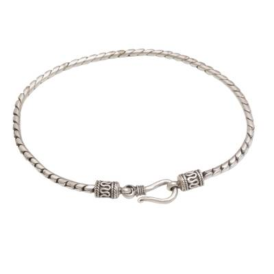 Sterling silver chain bracelet, 'Regal Shine' - Artisan Crafted Sterling Silver Chain Bracelet from Bali