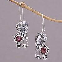 Garnet dangle earrings, 'Leaf Dew' - Garnet and Sterling Silver Leaf Dangle Earrings from Bali