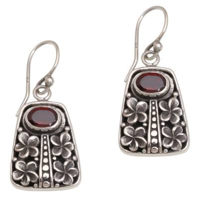Garnet dangle earrings, 'Jepun Pura' - Garnet and Sterling Silver Floral Dangle Earrings from Bali