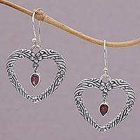 Garnet dangle earrings, 'Heartfelt Vines' - Floral Heart Garnet and Sterling Silver Earrings from Bali