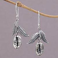 Sterling silver dangle earrings, 'Wondrous Bean' - Sterling Silver Coffee Bean Dangle Earrings from Bali