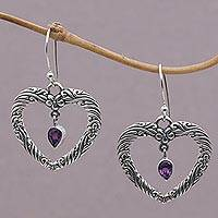 Amethyst dangle earrings, 'Heartfelt Vines' - Floral Heart Amethyst and Sterling Silver Earrings from Bali