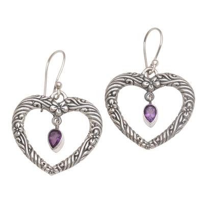 Amethyst dangle earrings, 'Heartfelt Vines' - Floral Heart Amethyst and Sterling Silver Earrings from Bali