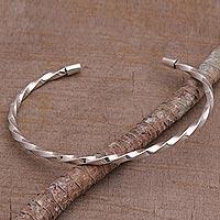 Sterling silver cuff bracelet, 'Shimmering Twist' - 925 Sterling Silver Twisted Cuff Bracelet from Bali