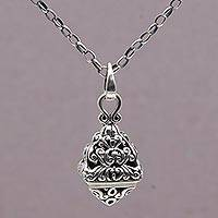 Sterling silver pendant necklace, 'Temple Spirals' - 925 Sterling Silver Pyramid Pendant Necklace from Bali