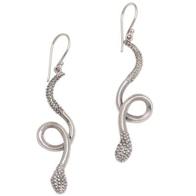 Sterling silver dangle earrings, 'Spectacular Serpent' - Sterling Silver Snake Earrings with Bun Motifs from Bali