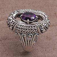 Amethyst cocktail ring, 'Purple Temple' - Amethyst and Sterling Silver Cocktail Ring from Bali