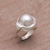 Cultured pearl cocktail ring, 'Radiant Temple'