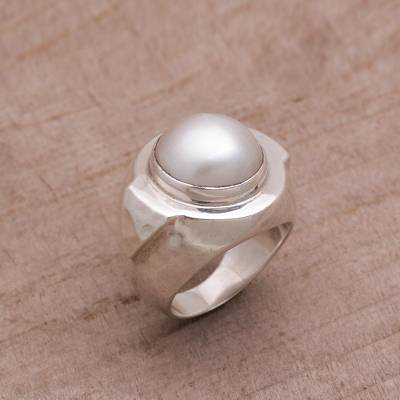 Cultured pearl cocktail ring, 'Radiant Temple' - Cultured Pearl and Sterling Silver Cocktail Ring from Bali