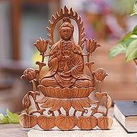 Wood relief panel, 'Kwan Im on Lotus' - Hand-Carved Buddhist Suar Wood Relief Panel from Bali