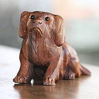 Wood sculpture, 'Havanese Dog' - Hand-Carved Suar Wood and Onyx Dog Sculpture from Bali