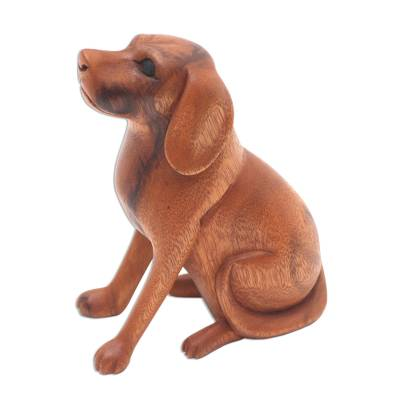 Wood sculpture, 'Loyal Dog' - Artisan Handcrafted Suar Wood Dog Sculpture from Bali