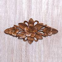 Wood relief panel, 'Growing Jepun' - Handcrafted Suar Wood Jepun Flower Relief Panel from Bali