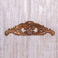 Wood relief panel, 'Queenly Cross' - Handcrafted Suar Wood Cross Relief Panel from Bali