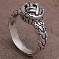 Sterling silver cocktail ring, 'Woven Crown' - Sterling Silver Woven Design Cocktail Ring from Bali
