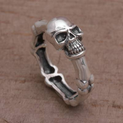 Handcrafted 925 Sterling Silver Skull Ring from Bali