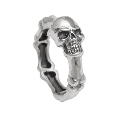 Sterling silver ring, 'Skull Champion' - Handcrafted 925 Sterling Silver Skull Ring from Bali