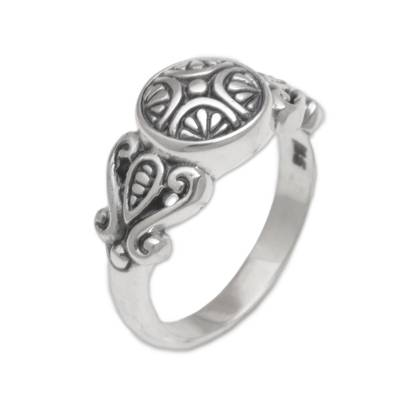 Handcrafted Sterling Silver Round Cocktail Ring from Bali