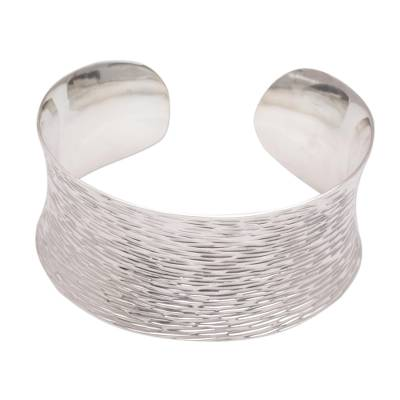 Handcrafted Etched Sterling Silver Cuff Bracelet from Bali