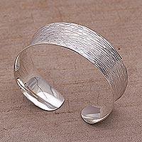 Sterling silver cuff bracelet, 'Rain Coverlet' - Etched 925 Sterling Silver Cuff Bracelet from Bali