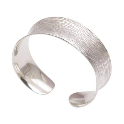 Etched 925 Sterling Silver Cuff Bracelet from Bali