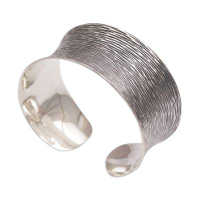 Oxidized Etched Sterling Silver Cuff Bracelet from Bali