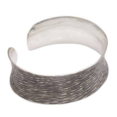 Oxidized Etched 925 Sterling Silver Cuff Bracelet from Bali